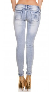 Sexy KouCla skinny jeans, side buttons Jeansblue