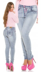 Curvy Girls! KouCla Skinny PuSH UP Jeans Jeansblue