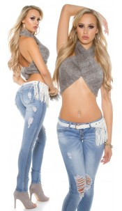 Sexy KouCla PuSH UP Jeans Destroyed Look + belt Jeansblue