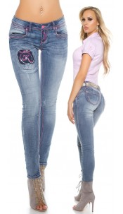 Sexy Skinny KouCla PuSH Up Jeans pink stitching Jeansblue