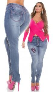 Curvy Girls! KouCla PuSH Up Jeans pink stitching Jeansblue