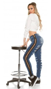 Sexy KouCla Skinny Jeans Used Look & Lacing Jeansblue
