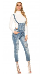 Sexy KouCla Jeans dungarees Used Look Jeansblue