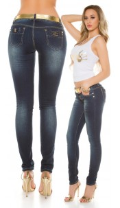 Sexy KouCla Skinnies with golden belt Jeansblue