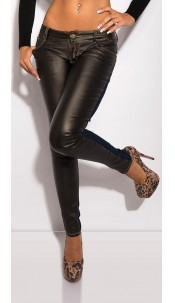 Sexy KouCla skinny-jeans with leatherlook Jeansblue