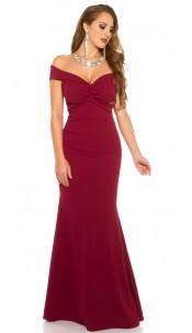 Elegant RedCarpetLook! Evening Gown off shoulder Bordeaux