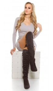 Sexy suede look boots Anthracite