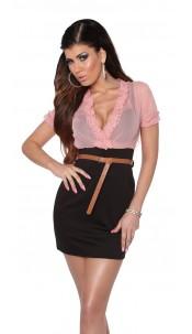 Sexy Minidress transparent with belt Pinkblack