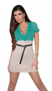 Sexy Minidress transparent with belt Greenbeige