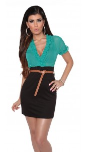 Sexy Minidress transparent with belt Greenblack