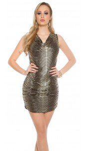 Party mini dress with lace and heaped Gold