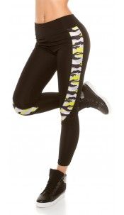 Trendy Workout Leggings with Camouflage Yellow