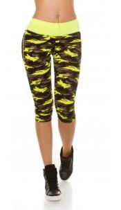 Trendy Workout Capri Leggings in Camouflage Neonyellow