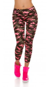 Trendy Workout Leggings in Camouflage Neonfuchsia