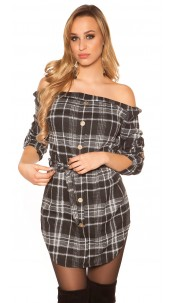Sexy mini dress checkered with belt Black