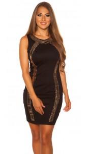 Sexy mini dress with plate Shape optics Black