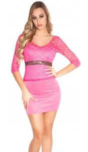 Sexy KouCla mini dress with lace and stones Fuchsia