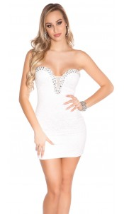Sexy KouCla minidress with lace and stones Cream