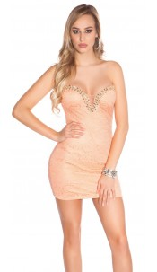Sexy KouCla minidress with lace and stones Salmon