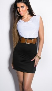 Sexy KouCla minidress shortsleeve with belt White