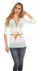 Sexy fine knit longsleeve with zip and belt Mint