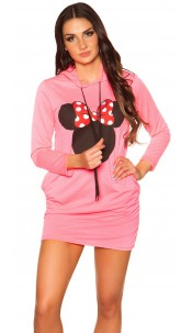 Trendy sweat dress with hood and print Neonfuchsia