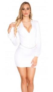 Sexy KouCla mini dress in wrap look with belt White
