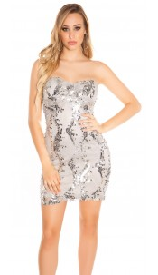 Sexy KouCla Cocktailminidress with lace and sequin Grey