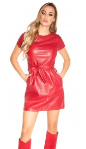 Sexy leatherlook minidress with belt Red
