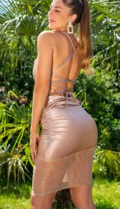 Sexy satijn-look jurk met kant asymmetrisch goud
