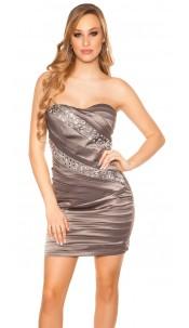 Sexy KouCla bandeau-minidress with stones Grey