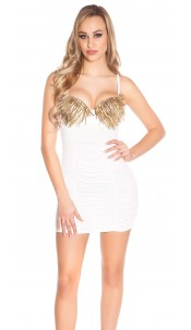 Sexy KouCla minidress with cups and spikes Cream