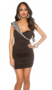 Sexy KouCla minidress gathered with sequins Black