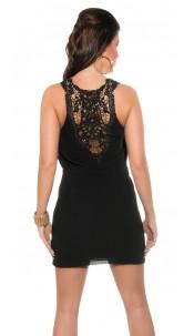 Sexy Chiffon dress V-Cut & crochet in the back Black