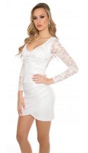 Sexy KouCla minidress gathered on side White