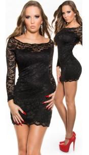 Sexy KouCla long sleeve mini lace dress Black