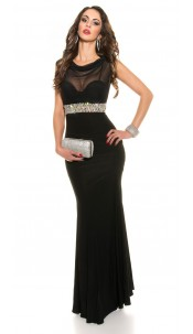 Red-Carpet-Look!Sexy Koucla Gown with Rhinestones Black