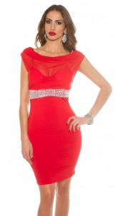 Sexy KouCla Minikleid waterfall cutout Red