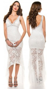 Red-Carpet-Look! Sexy Koucla evening dress laces White