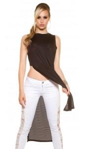 Sexy KouCla Maxi Long shirt with side slits Black
