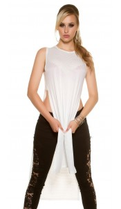 Sexy KouCla Maxi Long shirt with side slits White