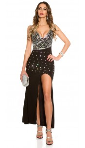 Red Carpet Look! Sexy KouCla dressw glitter stones Black