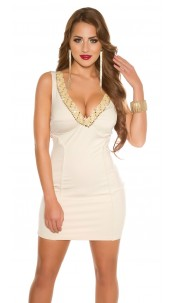 Sexy KouCla Party Mini Dress with Beaded & Stones Beige