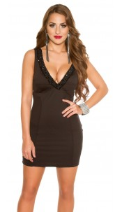 Sexy KouCla Party Mini Dress with Beaded & Stones Black