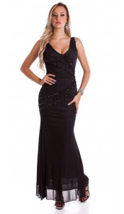 Red Carpet Look! Sexy KouCla Kleid w. pearls Black