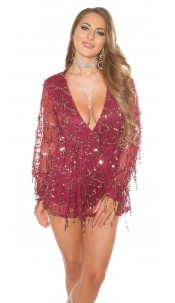 Sexy KouCla Party Playsuit with Sequins Bordeaux
