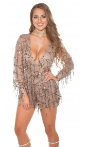 Sexy KouCla Party Playsuit with Sequins Cappuccino