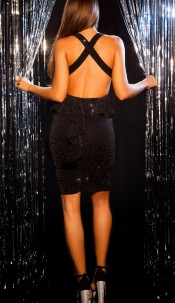 Sexy KouCla Party Glitter Mini dress with peplum Blacksilver
