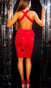 Sexy KouCla Party Glitter Mini dress with peplum Redsilver