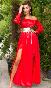 Sexy Koucla Satin-Look Maxidress Red